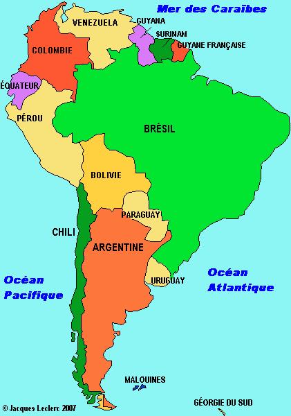 Amerique Du Sud Map Amérique du Sud: carte cliquable